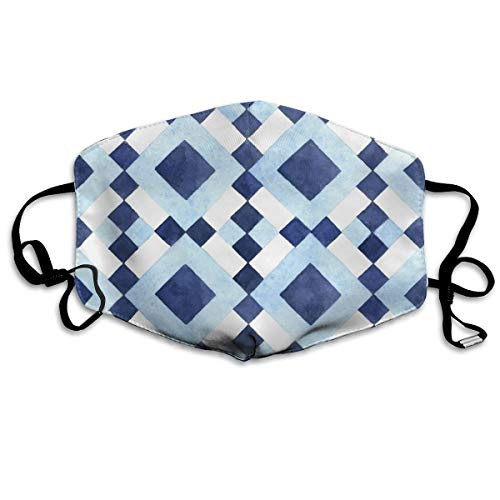 Col1Q Checkerboard Geometric Pattern Earloop Face Masks - Germ Dust Smoke Gas and Allergies Protection for Men & Women ()