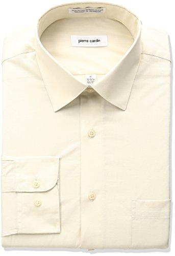 Pierre Cardin Mens Classic Fit Solid Broadcloth Semi Spread Collar Shirt