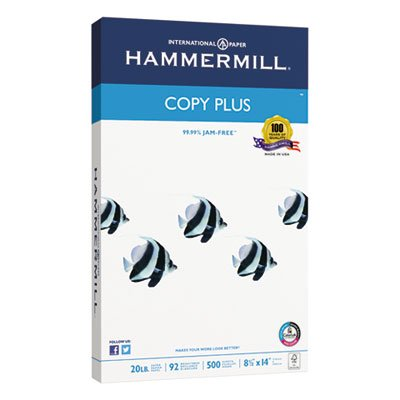 Copy Plus Copy Paper, 92 Brightness, 20lb, 8-1/2 x 14, White, 500 Sheets/Ream, Sold as 2 Ream by Hammermill (Image #1)