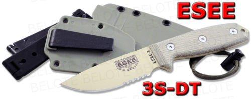 (ESEE -3 Serrated Edge Blades & Micarta Handles with OD Green Sheath, Desert Tan)
