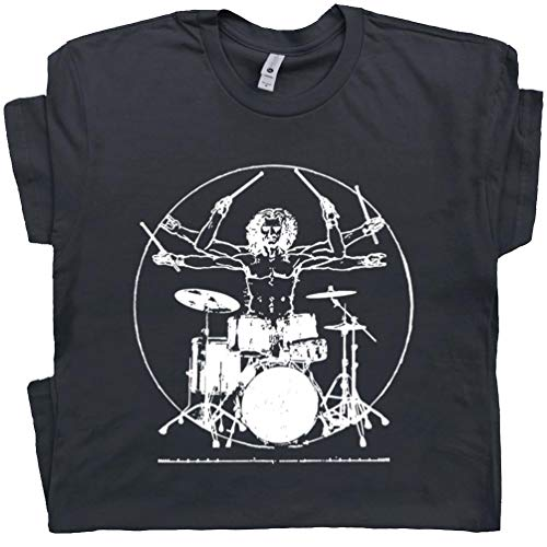M - Da Vinci Drums T Shirt Rock Drummer Set Tee Musician Band Drumming Guitar Gift for Men Women Teen Kid Graphic Black