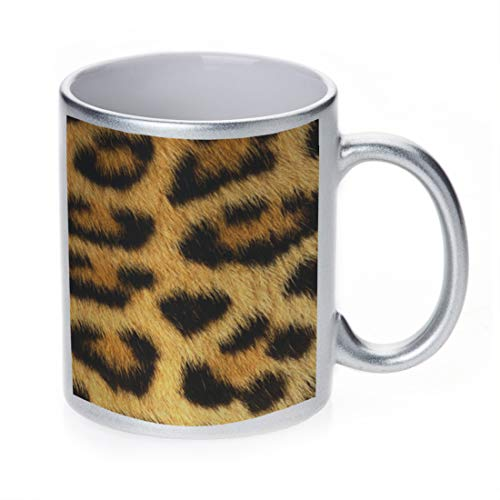 OKSLO Silver sparkle coffee cup mug 11 ounce - leopard Model kk2909 ()