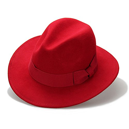 Big bowknot Wide-Brimmed 100% Wool Felt Hat Women's Jazz Cap Cowboy Hat Fedora Hat, Red, Medium for $<!--$31.99-->