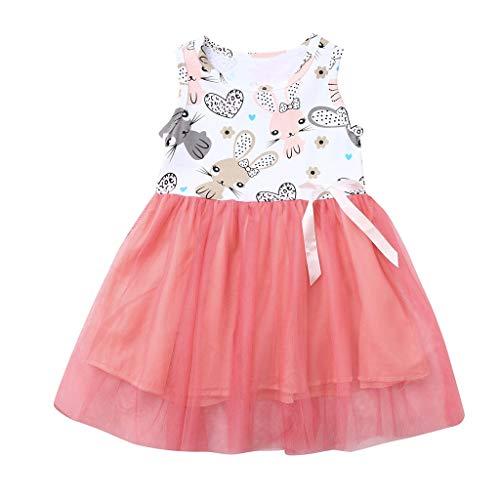 Easter Children Kids Baby Girls Sleeveless Rabbit Print Princess Vest Dress(Pink,90)
