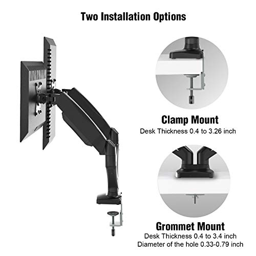 Dual Arm Monitor Stand - Adjustable Gas Spring Computer Desk Mount VESA Bracket with C Clamp/Grommet Mounting Base for 13 to 27 Inch Computer Screens - Each Arm Holds up to 14.3lbs by HUANUO (Image #6)