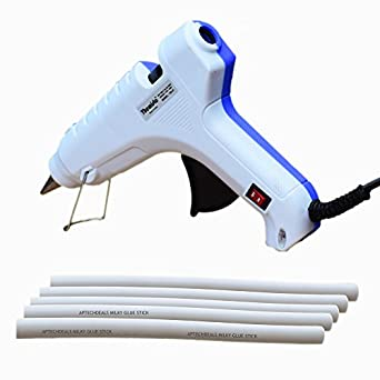 Themisto Glue Gun 40w with 5 Milky Glue Sticks /40W hot melt Glue Gun with Glue Sticks (BW)