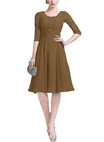 4 Sleeve Brown Lace Knee Mother Doramei Evening Dress Chiffon Ruffle Length Women's Formal 3 nHwpHO0Yq