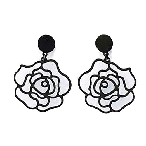 i&D Jewelry Silver Plated Rose Flower Longs Earrings Black Hollow Flower Dangle Drop Earrings Bridesmaid Gift for Women (Black)