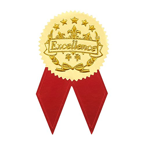 Best Paper Greetings Award Stickers - 48 Gold Certificate Seals with 48 Red Ribbon Shaped Stickers, Excellence Star Stickers for ()