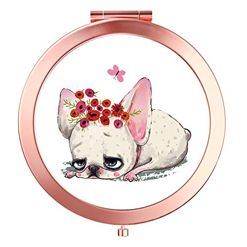 HeaLife Rose Gold Compact Mirror Travle Makeup Mirror [New Version] Double Sides with 2x &1x Magnification Portable Compact Mirror Round Pocket HandHeld Mirror for Girls(Cute Dog)