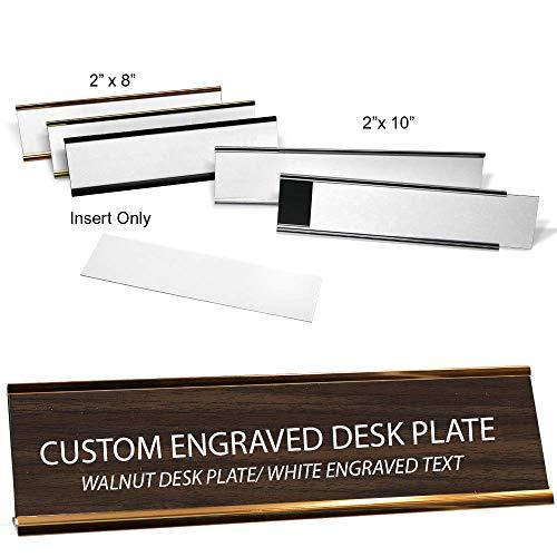 Custom Engraved Desk Plate - Walnut/White - 2