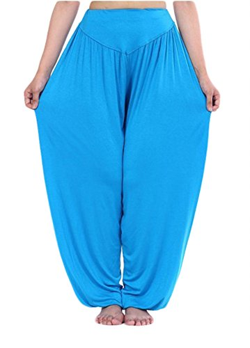 AvaCostume Womens Modal Cotton Soft Yoga Sports Dance Harem Pants, L, Lakeblue (Belly Dance Costumes Large Ladies)
