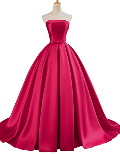 Dymaisei Women's Strapless Ball Gown Prom Party Dresses 2019 Long Formal Dresses US8 Hot Pink