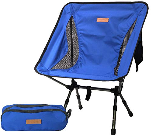 Boundary Pack - Boundary Life Lightweight Camp Chair: Backpacking Chairs for Camping Hiking Fishing Tailgating Sporting Events or Music Festival - Small Folding Low Collapsible Chair with Adjustable Legs - Blue