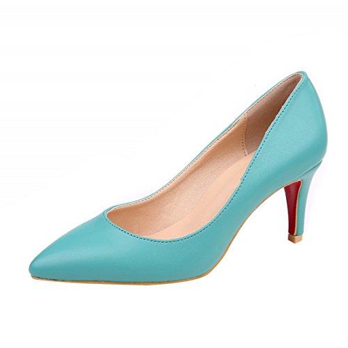 HooH Femmes Simple Pointu Kitten Escarpins Y046-1 Bleu srcMG97Rf