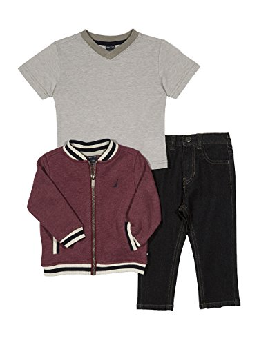 Nautica Boys' Baseball Jacket, Tee, & Denim Pant Set, Burgundy, 18 Months