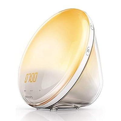 Philips HF3531 Wake-up Light Alarm Clock with Coloured Sunrise Simulation, 7 Natural Sounds & Radio Function -