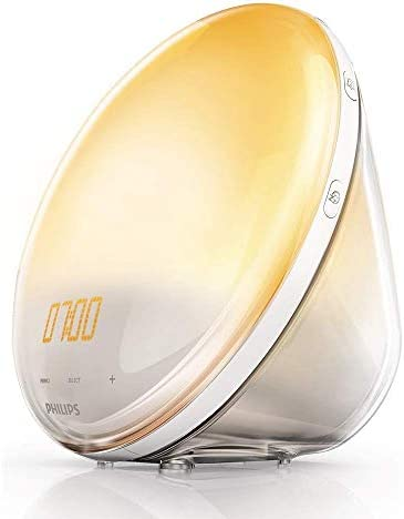 Philips Wake-up Light HF3520/01 Despertador de Luz, Radio FM, 5 Sonidos Naturales, Alarma, sin cargador móvil, 800 W, Blanco