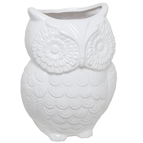 MyGift White Owl Design Ceramic Cooking Utensil Holder/Multipurpose Kitchen Storage Crock
