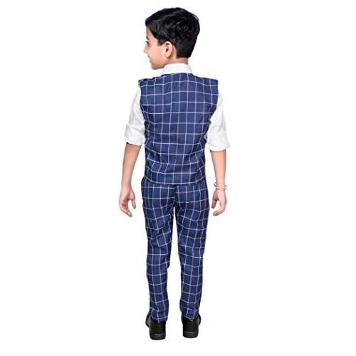 41x%2Br9mnrFL. SS500  - ahhaaaa Boy's Blended Waistcoat, Shirt, Tie Trouser Set