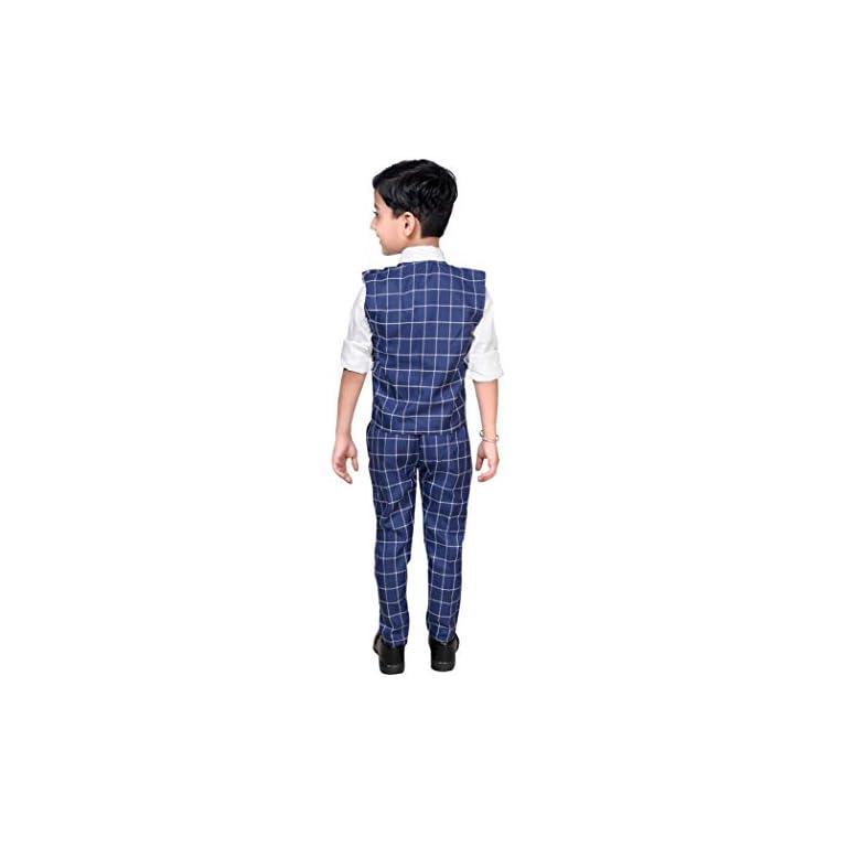 41x%2Br9mnrFL. SS768  - ahhaaaa Boy's Blended Waistcoat, Shirt, Tie Trouser Set