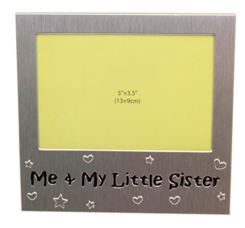 Me and My Little Sister - Photo Picture Frame Gift -Will take a photo of 5 x 3.5 Inches (13 x 9 cm) - Brushed Aluminium Satin Silver Color. Little Frame
