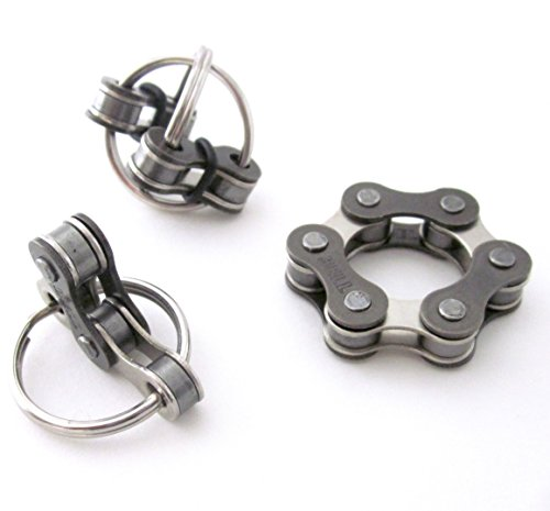Set of 3 Quiet Fidget Toys for ADHD, Stress Anxiety Relief, Stocking Stuffer,Silver Bike Chain, Pocket Fidget, You choose size 3 or 4 connected links ()