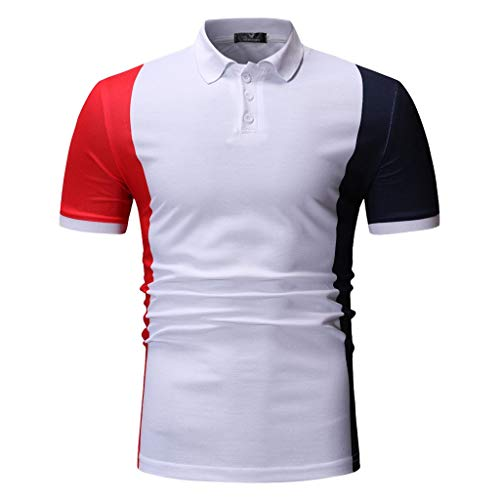 Men's Shirt Fitfulvan Spring Winter Stand Collar Fashion Casual Short Sleeve Spell Color Slim Top