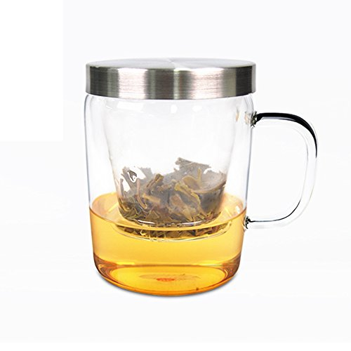 12.6oz TAETEA Tea Cup tea gift glass Tea Cup With Loose Leaf Tea Brewing ()