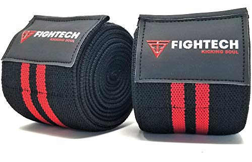"""FIGHTECH Knee Wraps for Weightlifting   Men & Women   Bodybuilding Knee Squat Wraps   78"""" Long Knee Straps for Compression & Elastic Support During Leg Presses, Cross Training Gym Workout   Pair (RED)"""
