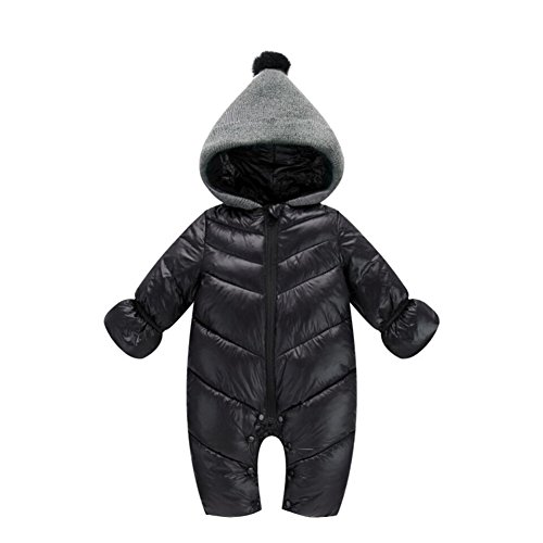 (Genda 2Archer Unisex Baby Hooded Puffer Jacket Jumpsuit Winter Snowsuit Coat Romper (10-14 Months, Black) )