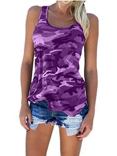 Women's Racerback Casual Stretch Camo Shirts Camouflage Tank Tops (Large, Purple)