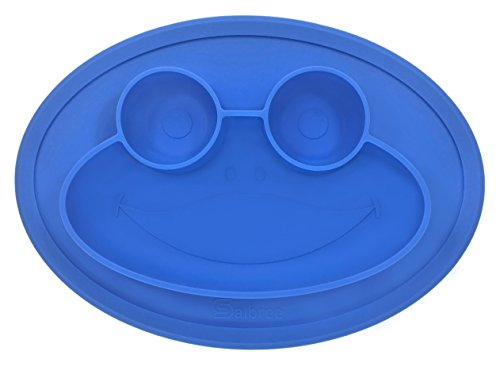 Round Chair High - Round Silicone Slip-Resistant Frog Placemat for Children, Kids, Toddlers, Babies Highchair Feeding Tray or Kitchen Dining Table with Built in Plate and Bowl, Measures 9