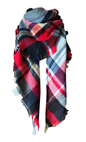 (Wander Agio Womens Warm Scarf Triangle Shawls Large Scarves Stripe Plaid Fichu White Red Colour 4)
