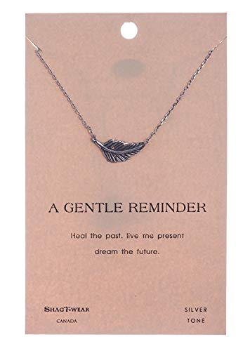 Shag Wear Inspirational Quote Pendant Necklace (Gentle Feather Pendant)