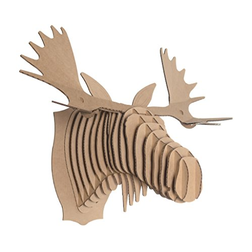 Cardboard Safari Recycled Cardboard Animal Taxidery Moose Trophy Head, Fred Brown Large ()