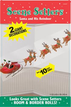 Room Wonderland Roll Winter (Santa and His Reindeer 65in Scene Setters 2ct)