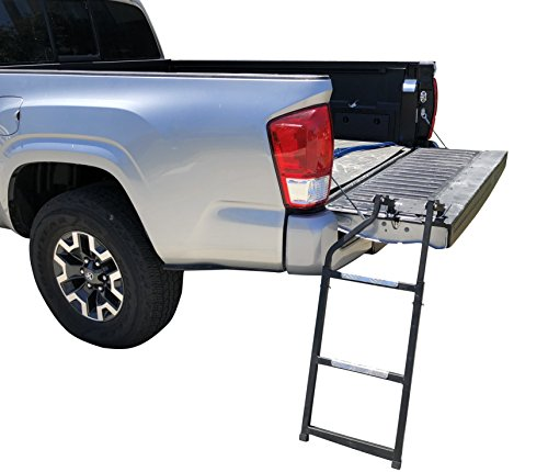 Beech Lane Pickup Truck Tailgate Ladder - Universal Fit, Stainless Steel Self Drilling Hex Screws for Easy Install, Durable Aluminum Step Grip Plates, and Sturdy Rubber Ladder Feet ()