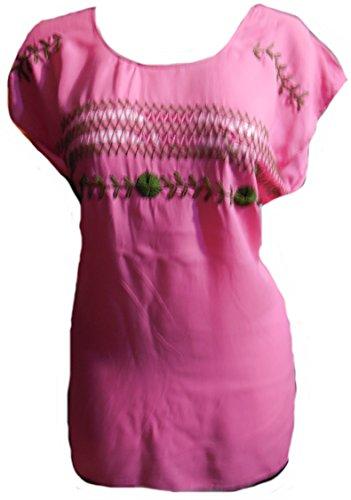 フォーラム容赦ない志すレーヨン刺繍Mexicanブラウスからオアハカ、メキシコ