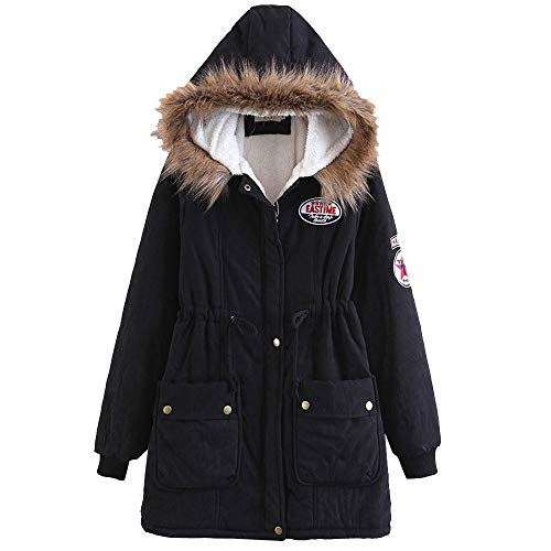 Clearance Sale for Women Coat.AIMTOPPY Women's Fur Collar Hooded Cotton Jacket Lambskin Long Cotton Coat
