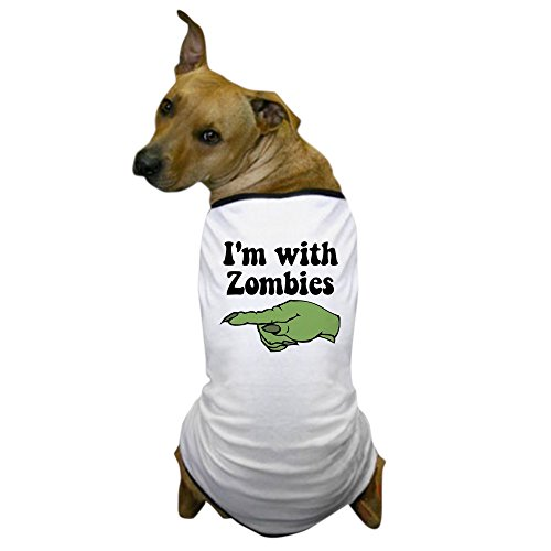 CafePress - I'm With Zombies Halloween Dog T-Shirt - Dog T-Shirt, Pet Clothing, Funny Dog (Funny Zombie Costumes)