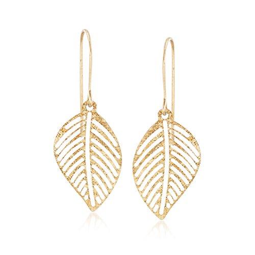 Ross-Simons Italian 14kt Yellow Gold Openwork Leaf Drop - Italian Gold Earrings