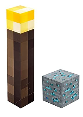 Minecraft Officially Licensed Light-Up Torch and Diamond Ore Set in Official ThinkGeek Packaging