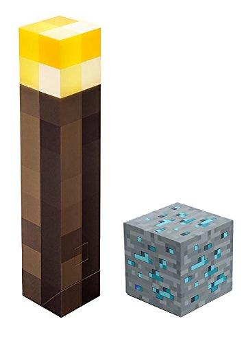 ThinkGeek Minecraft Light-Up Torch and Diamond Ore Set - for Fans of Minecraft, Officially-Licensed Minecraft Collectible - Pack of 2