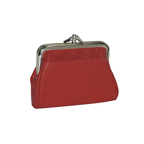 Leather Double Coin Purse - Buxton Hudson Pik-Me-Up Triple Frame, dark red