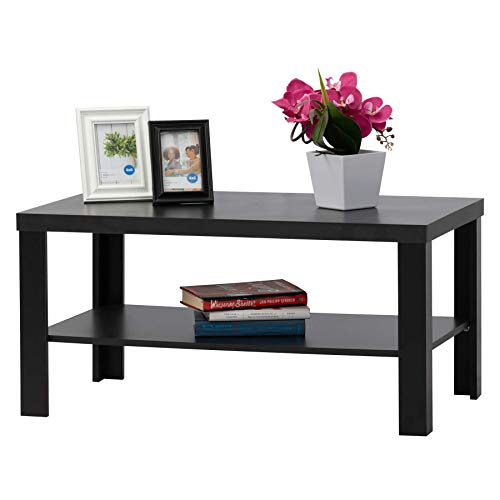 - Fineboard FB-CT02-BK Rectangle Coffee Table with Large Storage Shelf Rack, Black