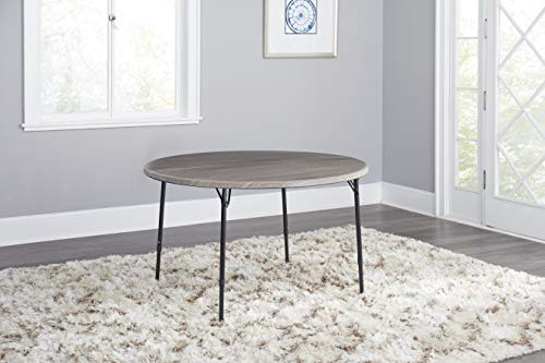 - COSCO 48 in. Round Fold in Half Table, Light Gray Wood Grain with Black Frame