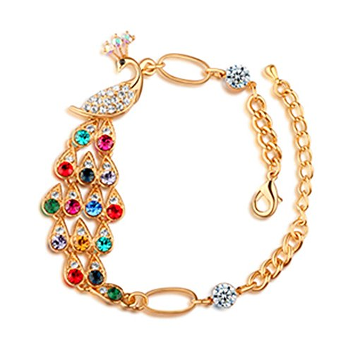 MIXIA Bohemian Colorful Austrian Crystal Peacock Charm Vintage Adjustable Cuff Bracelets for Women Romantic Jewelry