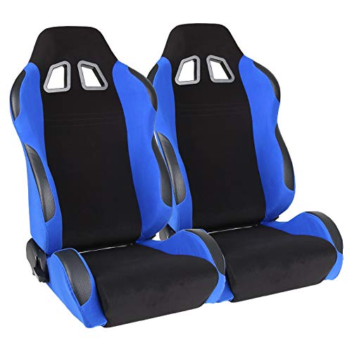 2X Universal TS BLK Leather//Blue Cloth RECLINABLE Racing Bucket Seats+Slider C01
