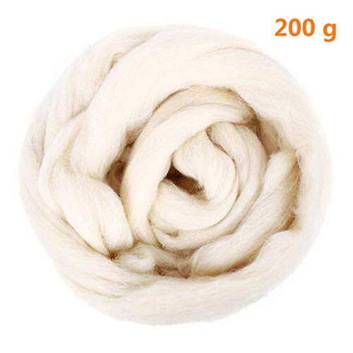 Natural Wool Roving 200g / 7oz Fiber Roving Wool Top For Needle Felting DIY Hand Spinning Wool Felt Crafts by SOLEDI (Milk White)